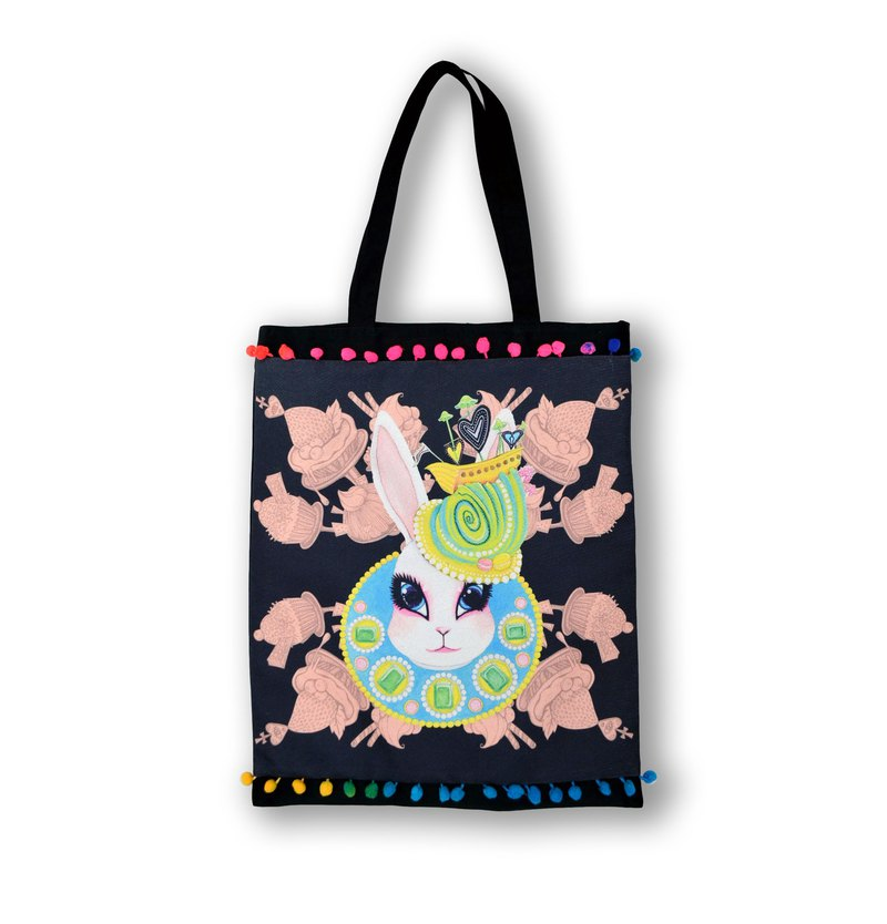 GOOKASO double shopping bag TOTE BAG rabbit queen cotton and linen print logo back Japanese kimono brocade decorated with colorful beads lace