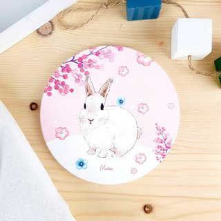 Sakura Bunny - Round Ceramic Drinking Coaster / Animal Shiba Inu. Christmas Gifts