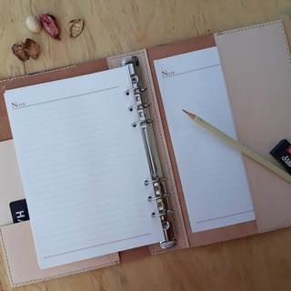 A5 loose-leaf notebook (6 holes) │ Italian vegetable tanned leather hand dyed color / original color can be branded (10 words)