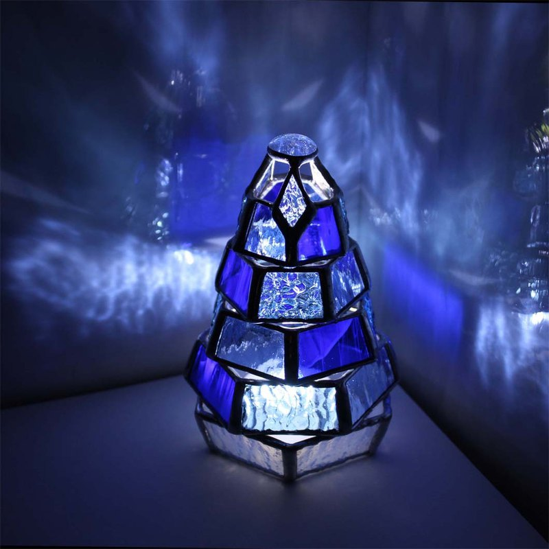 【Small Momi no Chi Lamp Blue Collection】 Stained Glass Mini Lamp with LED Light