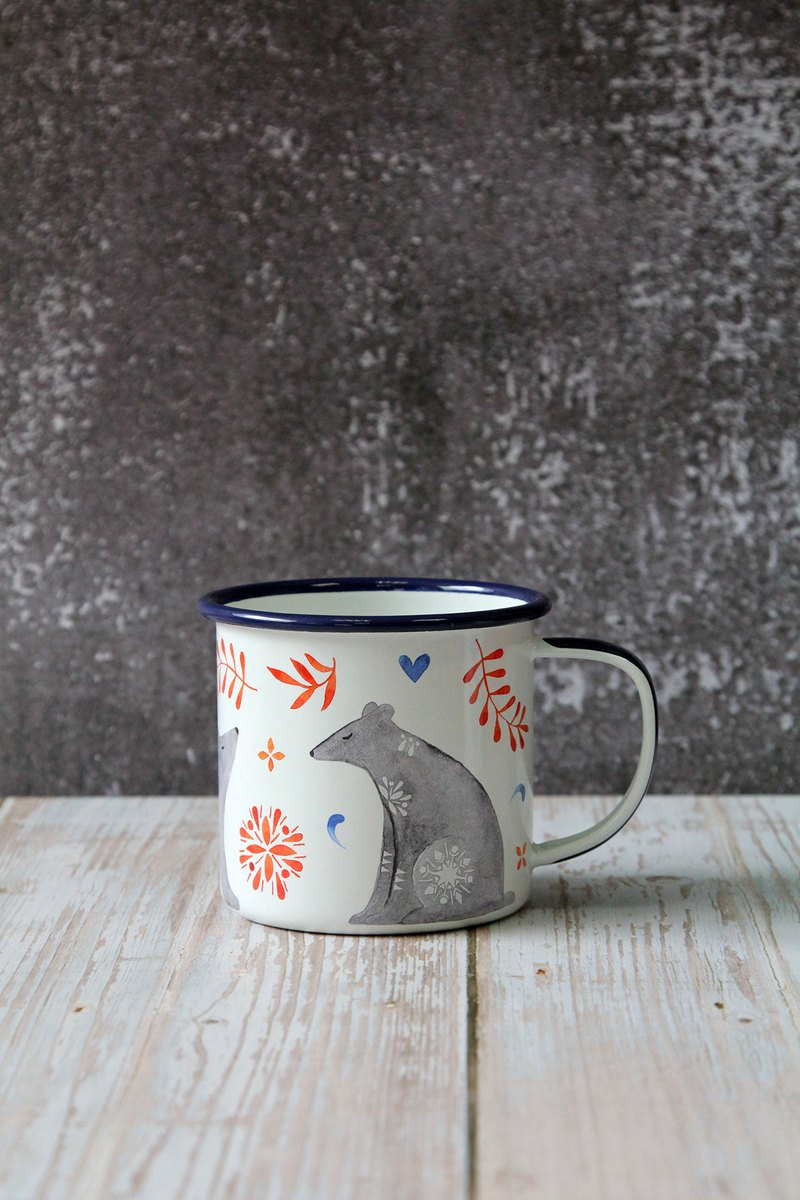 Wild & Wolf Forest Animal Series Design Enamel Mug (Bear Model)