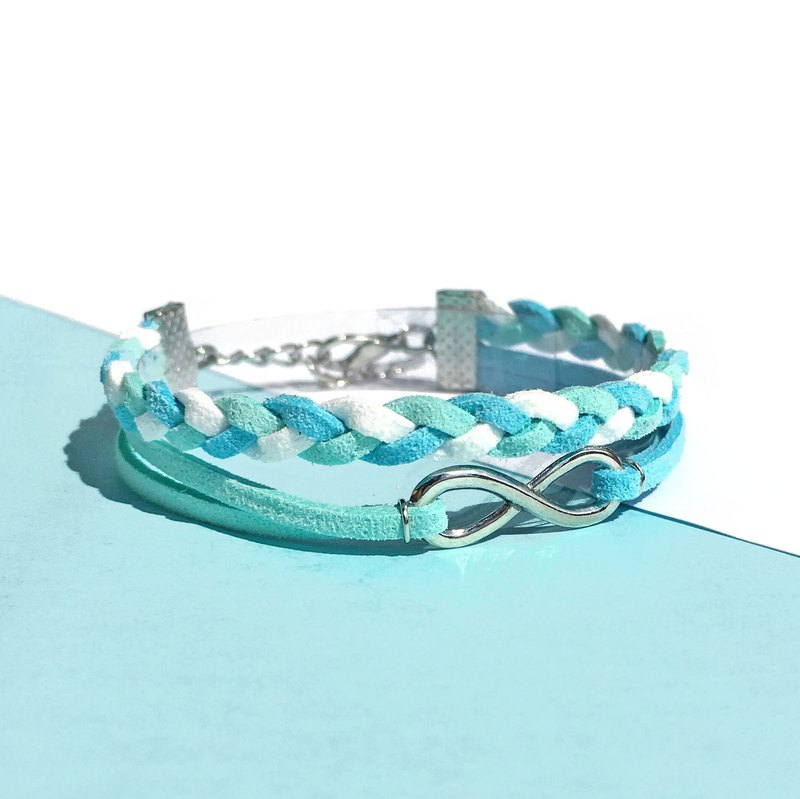 Handmade Double Braided Infinity Bracelets–light blue and blue