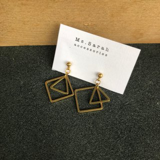 Brass earrings_Modern tile (can be changed)