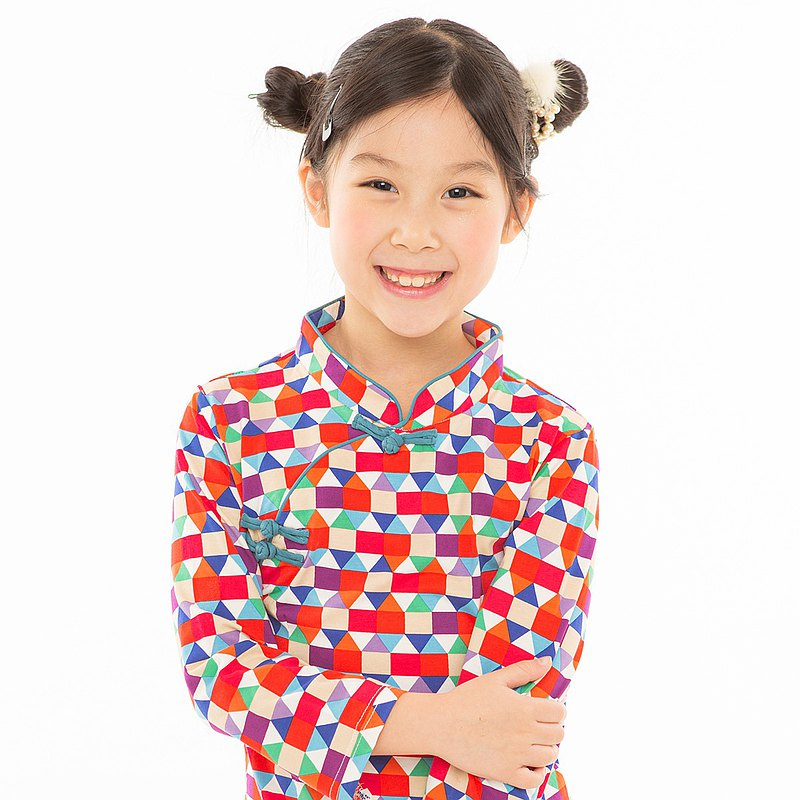Children's cheongsam ancient style three-quarter sleeves magic color geometry