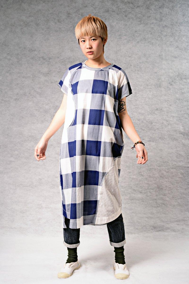 弧形幾何色塊拼接 清爽洋裝
