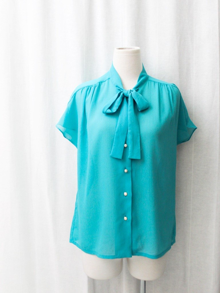 【RE0720T127】 Japanese simple light blue green short-sleeved ancient shirt