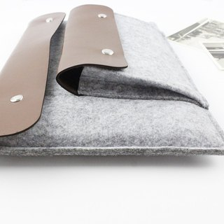 [Customizable] Original handmade light gray felt blankets Microsoft computer protective sleeve jacket laptop computer bag Surface Pro 4 plus type keyboard protective shell type cover touch cover (can be tailored) --054