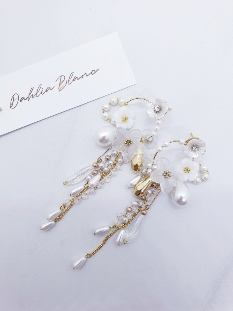 Romantic Bridal Flower  Hoop Dangle Earrings
