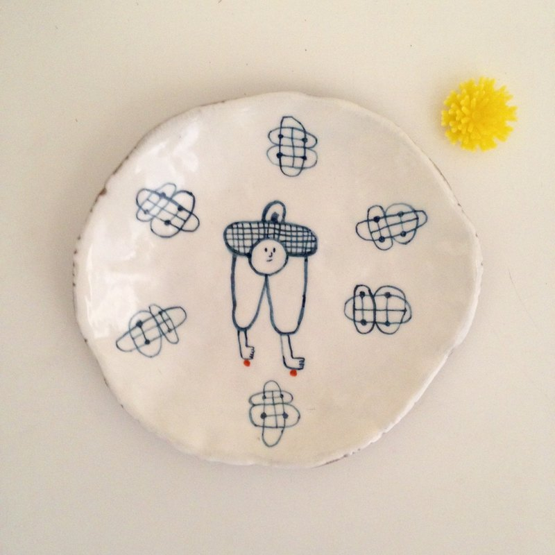 Hand painted shallow dish - Wen Qingfeng practical shallow dish