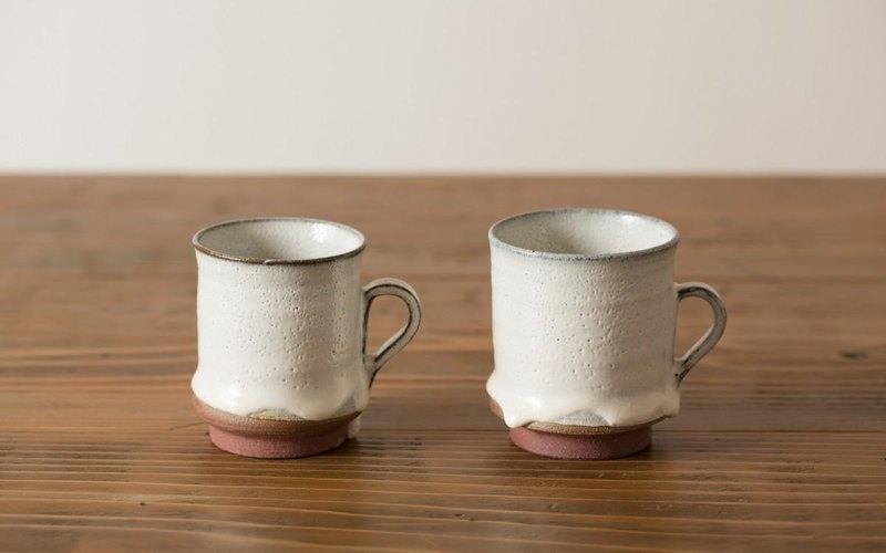 Coffee cup white glaze / red clay