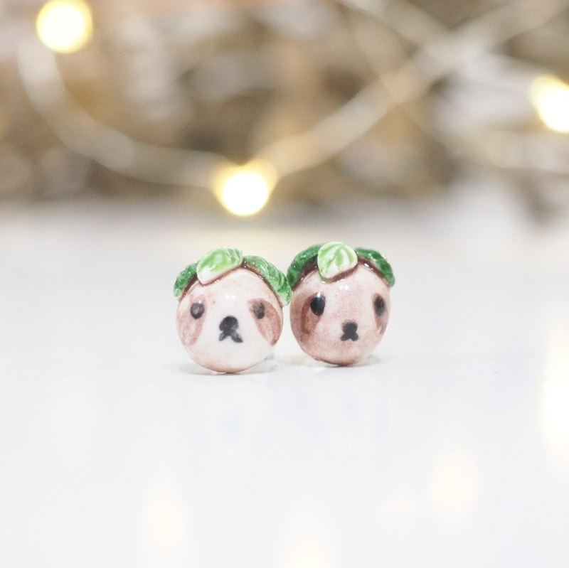 Baby Sloth Sterling Silver Stud Earrings