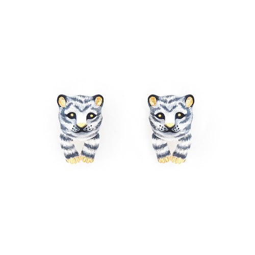 Snow Mountain Baby Tiger Earrings