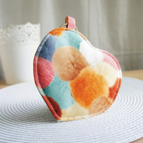 Lovely [Japan cloth custom] colorful hair balls love purse, card sets, orange mixed colors