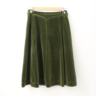 Vintage simple 80s Olive green velvet Europe and the United States A word Vintage dress European Vintage Skirt
