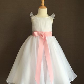 White Organza Fly Sleeve Dress with Pink Bow Waist