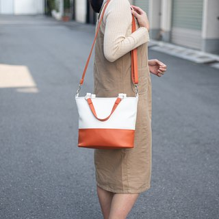 Classic color matching bag _ portable shoulder dual-use white X Emma orange