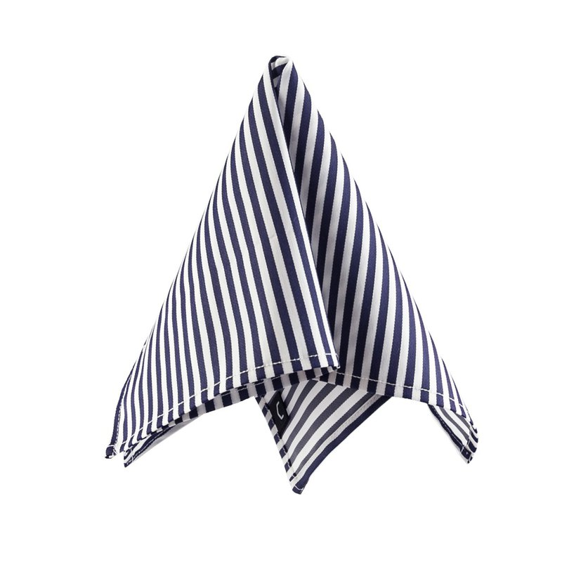 CAVEMAN Pocket Square - Japan Satin Navy Stripe