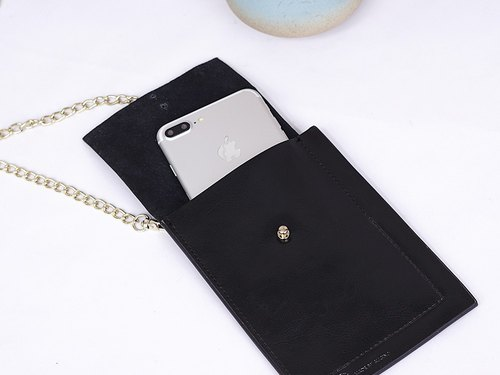 Mbs carry card package mobile phone wallet purse certificate package leather mini chain bag card package