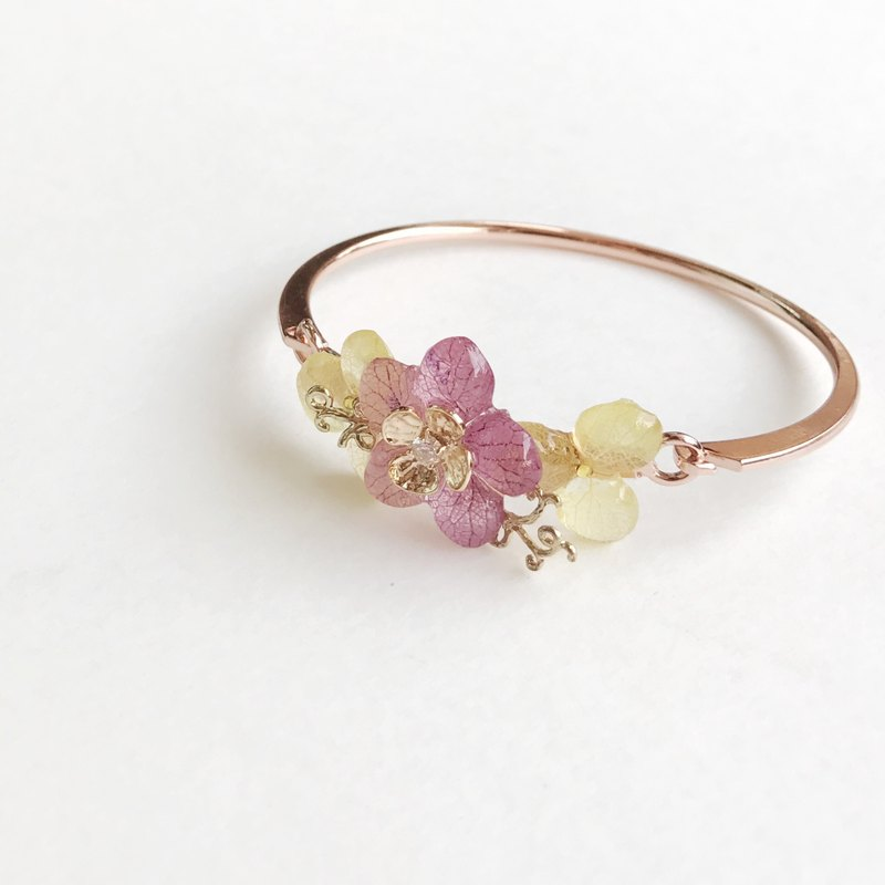 [Fleur d'amour] Real flower jewellery Hydrangea (Purple + Yellow) bracelet bangle Rose Gold