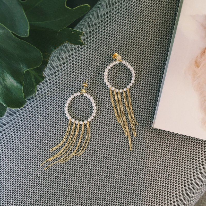 MissQueeny natural pearl tassels retro circle earrings / earring