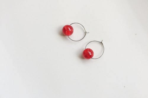 Strawberry Jam Stainless Steel Circle Glass Earrings