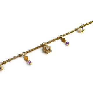 Ficelle | handmade brass natural stone bracelet | [Amethyst] love snow - snowflakes