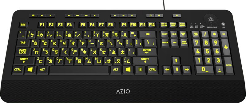 AZIO KB506 Large Phonetic Backlit Wired Keyboard / Chinese and English Keycap