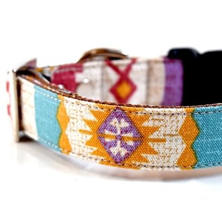 Bohemian BOHO Dog Collar - turquoise blue, mustard, brown Size Large