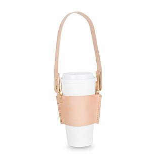 [Leather drink cup bag / gold buckle] ACCESSORIES handmade leather