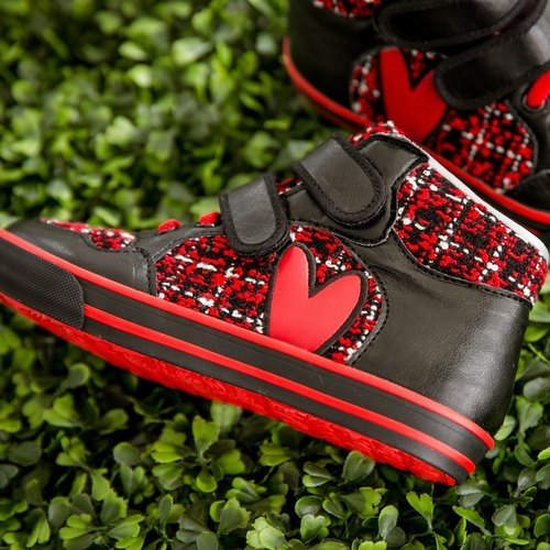Becka red wool love high tube casual shoes