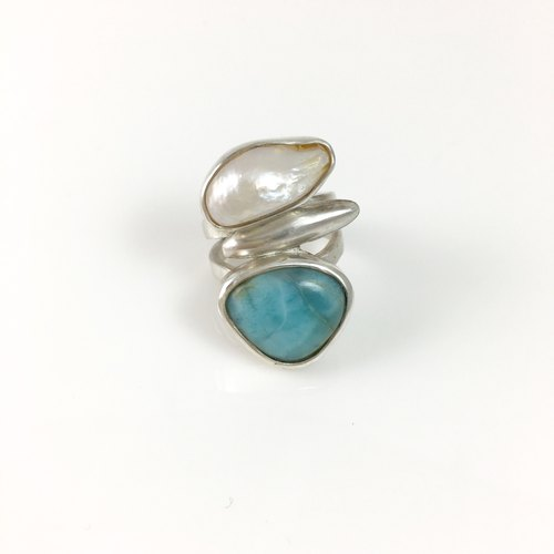 Natural gemstone Larimar/Pearl Sterling Silver ring