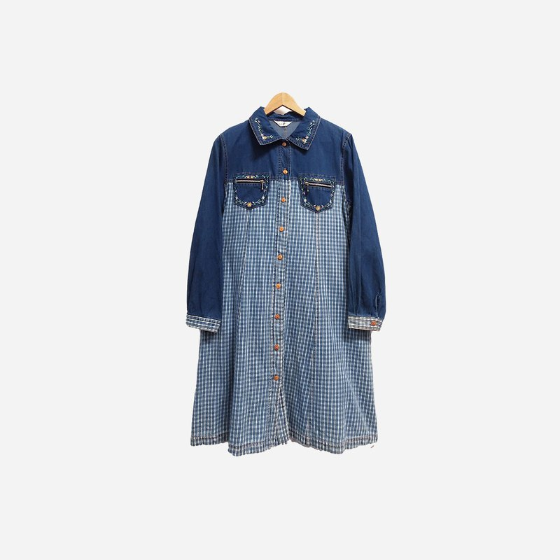 Dislocation vintage / denim stitching plaid embroidery long sleeve dress no.381 vintage