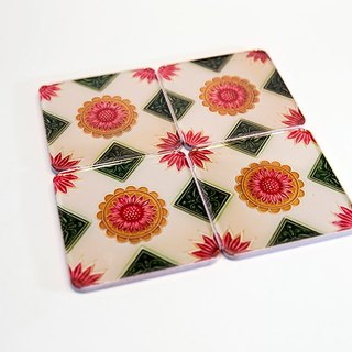 Cross orange flower brick coaster four piece set