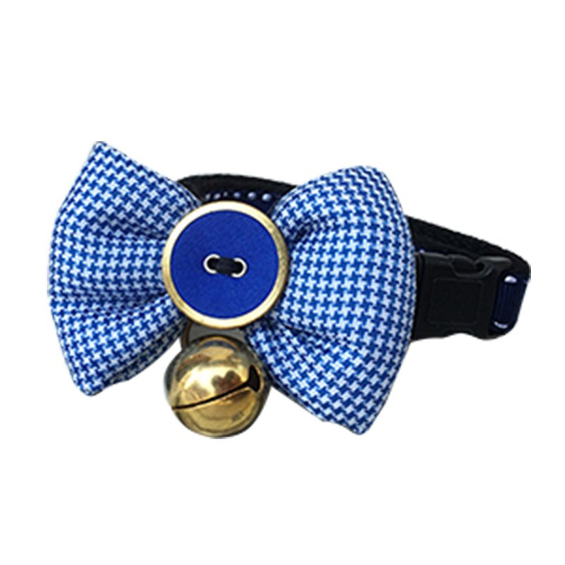Cat collar bell tie blue houndstooth pattern