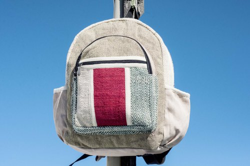 Cotton and linen stitching design backpack backpack national mountaineering bag patch cloth cotton and linen backpack - desert