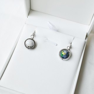 Earth Moon Earrings -- silver