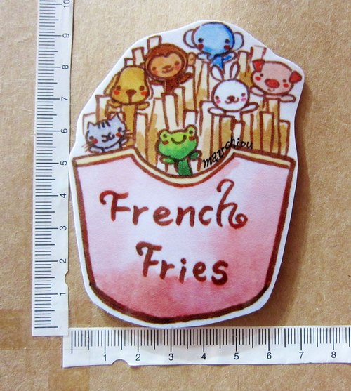 Hand-drawn illustration style completely waterproof stickers animals Big collection fast food french fries