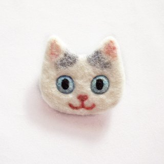 cat face felt brooch -van pattern-