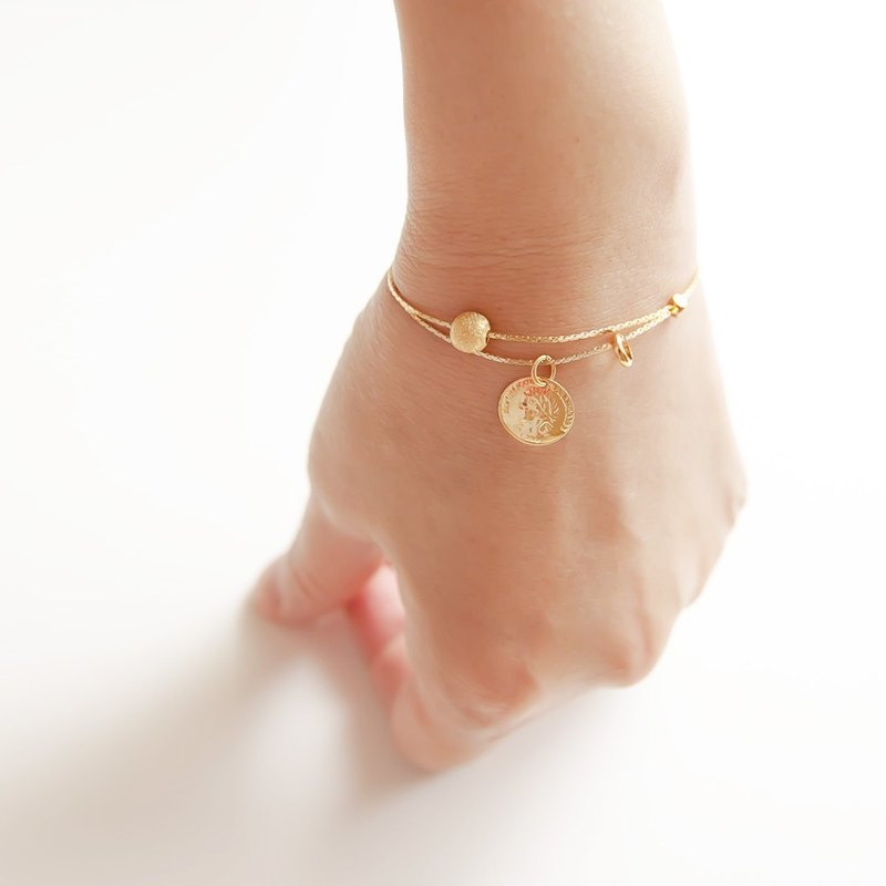 "Flowing Geometry Scrub Bead Pendant Gold Coins Level Double Circle Fine Bracelet / Bracelet ""Small Chain Club"" BBZ043"