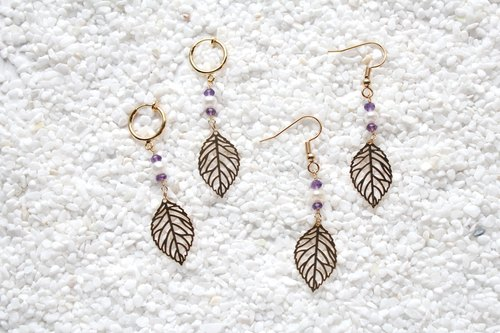 【FEBRUARY 2-birthstone-Amethyst】 leaves hanging earrings (Customizable clip-on)