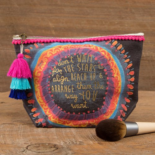 Wool Fringe Canvas Cosmetic Bag - Stars Align