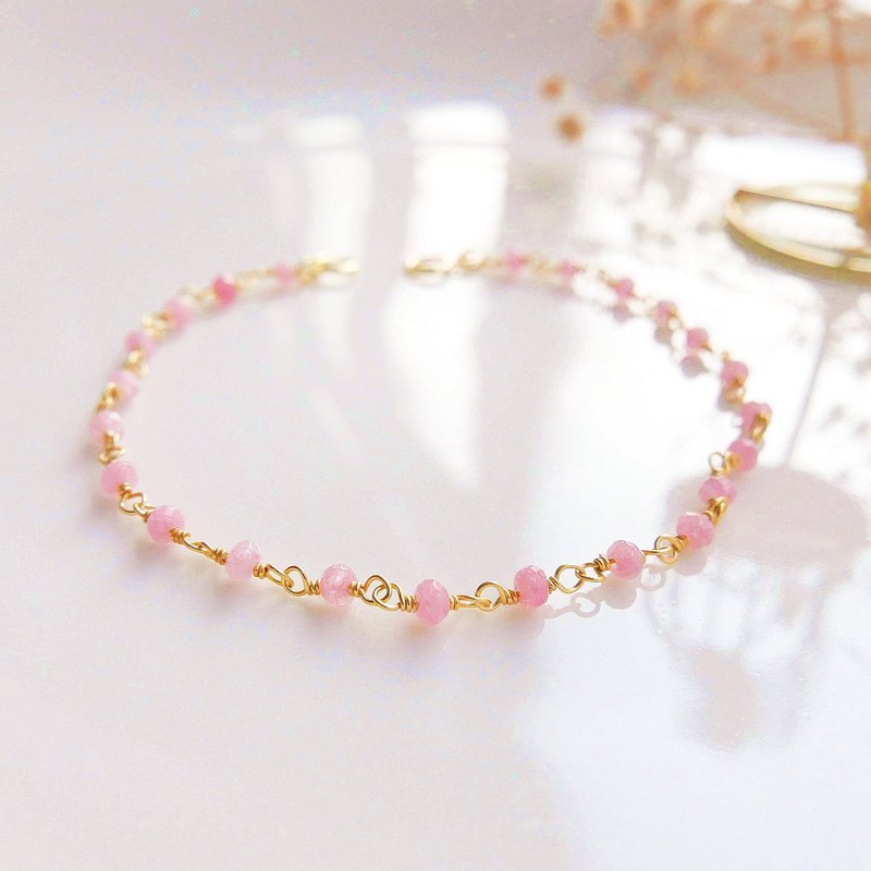 【Lalune】 Dream Pink protein 925 sterling silver yellow K bracelet