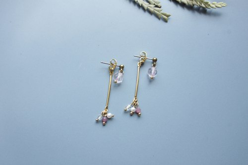 │Small fruit │ earrings - pink crystal