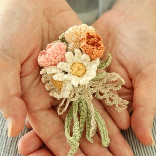 Daisy pea flower orange bouquet brooch Japanese twine weave heart gift birthday gift