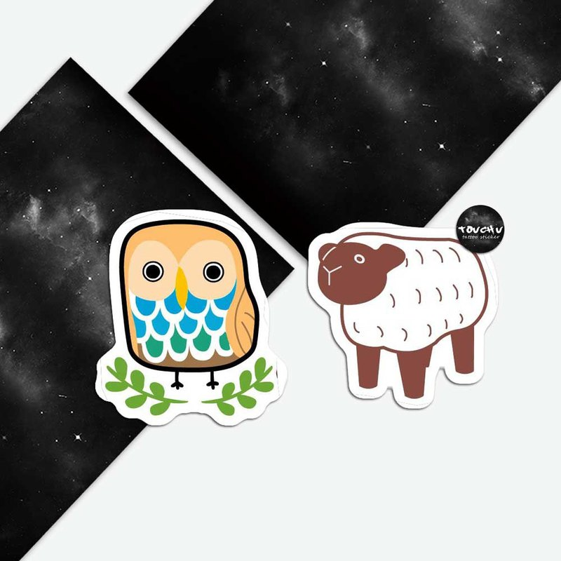 TU Tattoo Sticker -Owl&Sheep   waterproof Tattoo