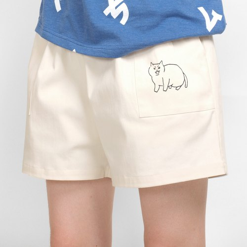 【HEYSUN】White Cat Screen Printing Short Pant - Beige