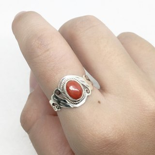 Coral stone 925 sterling silver carved design ring Nepal handmade mosaic production (style 2)