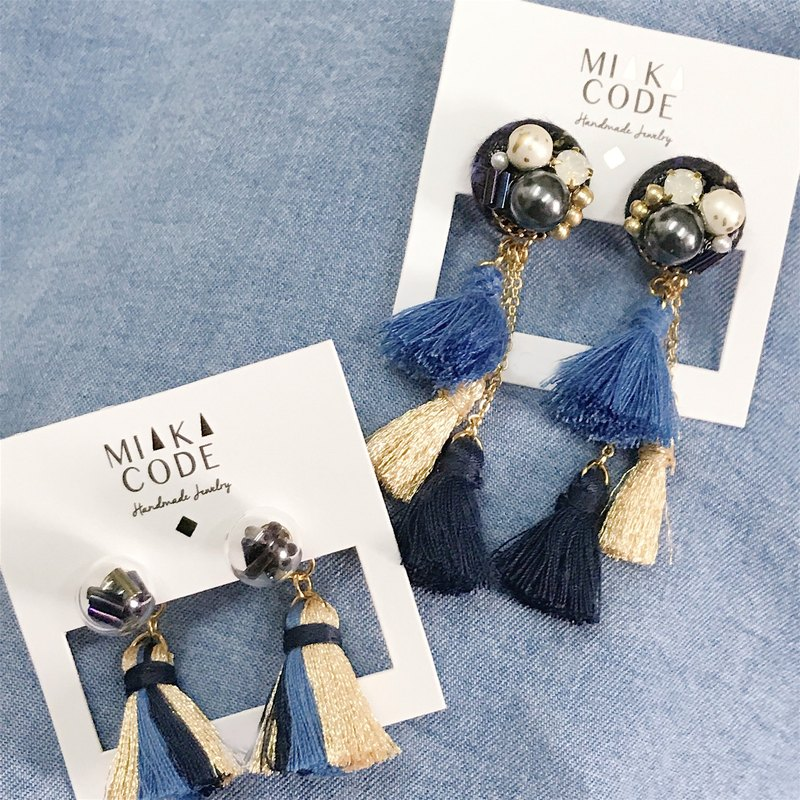 [Package] blue tassel tassel earrings / ear clip