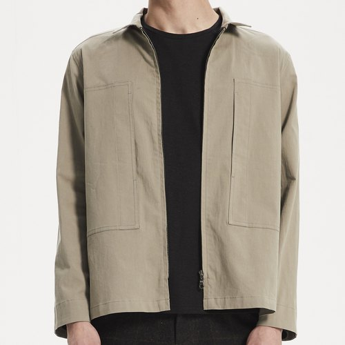 Elastic washed cotton shirt jacket