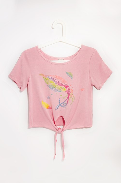 Women modal sense of cool strap T-shirt / T-shirt design / design Tee / Lace Top - Seabed bioluminescence through pumping (pink)